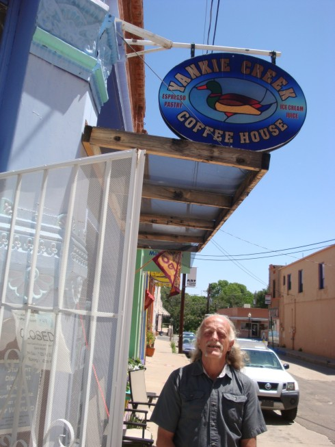 at his coffee house Dale